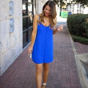 Naked Zebra Dresses - Blue v neck strappy button down front dress